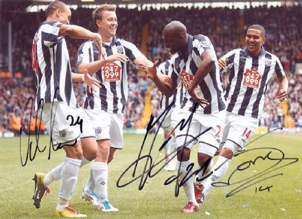 Odemwingie, Mulumbu & Thomas, West Brom, signed 11x8 inch photo.